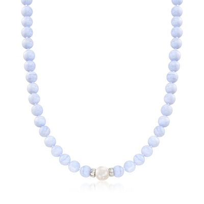 Blue Agate and Cultured Pearl Beaded Necklace in Sterling Silver, , default