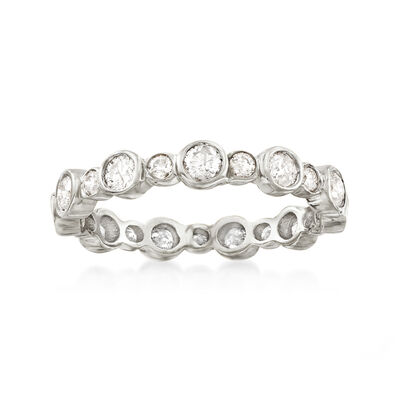 1.00 ct. t.w. Bezel-Set Diamond Eternity Band in 14kt White Gold, , default