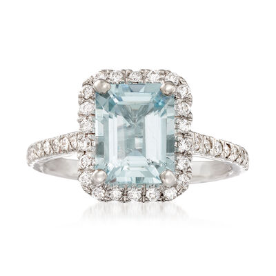 2.00 Carat Aquamarine and .40 ct. t.w. Diamond Ring in 14kt White Gold, , default