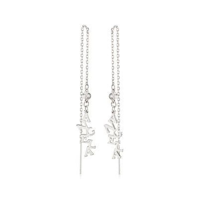 Sterling Silver Personalized Drop Earrings with CZ Accents, , default