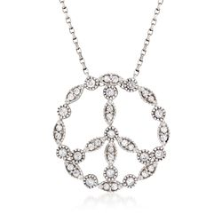 1.20 ct. t.w. White Zircon Peace Sign Pendant Necklace in Sterling Silver, , default