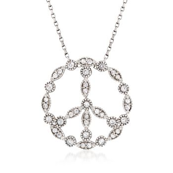 """1.20 ct. t.w. White Zircon Peace Sign Pendant Necklace in Sterling Silver. 18"""", , default"""