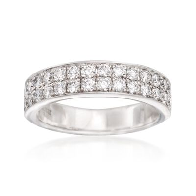 Henri Daussi Double Row .95 ct. t.w. Diamond Wedding Band in 14kt White Gold, , default