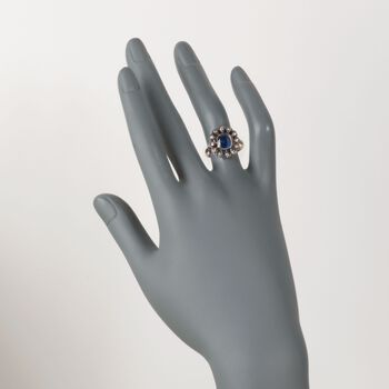 C. 1900 Vintage 2.03 Carat Sapphire and .30 ct. t.w. Diamond Ring in Sterling Silver and 14kt Yellow Gold. Size 6.5, , default