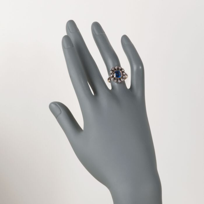 C. 1900 Vintage 2.03 Carat Sapphire and .30 ct. t.w. Diamond Ring in Sterling Silver and 14kt Yellow Gold