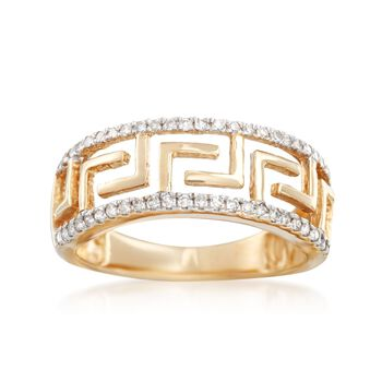 .25 ct. t.w. Diamond Greek Key Ring in 14kt Yellow Gold, , default