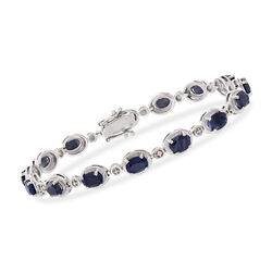 9.10 ct. t.w. Sapphire Bracelet With Diamond Accents in Sterling Silver, , default