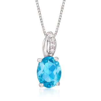 """2.40 Carat Blue Topaz Pendant Necklace With Diamond Accents in Sterling Silver. 18"""", , default"""