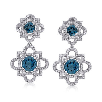 4.20 ct. t.w. London Blue Topaz and 1.00 ct. t.w. Diamond Drop Earrings in 14kt White Gold, , default