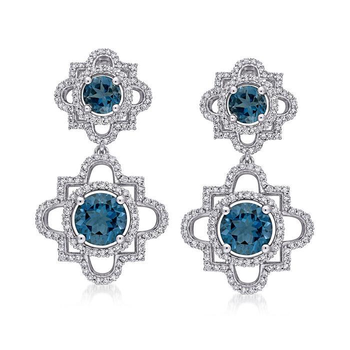4.20 ct. t.w. London Blue Topaz and 1.00 ct. t.w. Diamond Drop Earrings in 14kt White Gold