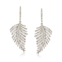 1.50 ct. t.w. Diamond Feather Drop Earrings in 14kt White Gold , , default