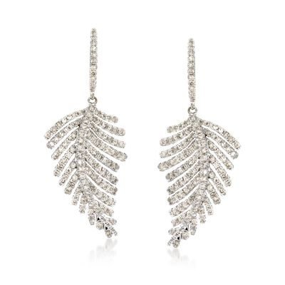 1.50 ct. t.w. Diamond Feather Drop Earrings in 14kt White Gold, , default