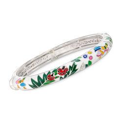 "Belle Etoile ""Ladybug"" White Enamel and .25 ct. t.w. CZ Bangle Bracelet in Sterling Silver, , default"