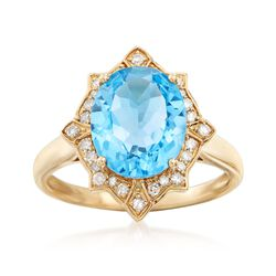 3.50 Carat Blue Topaz and .21 ct. t.w. Diamond Ring in 14kt Yellow Gold, , default