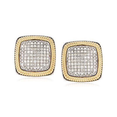 1.00 ct. t.w. Pave Diamond Square Earrings with Beaded Frames in Sterling and 18kt Gold, , default