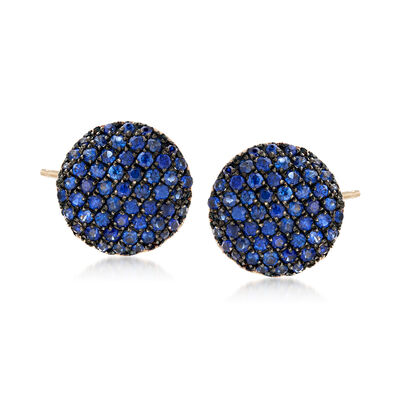 1.10 ct. t.w. Sapphire Stud Earrings in 14kt Yellow Gold with Black Rhodium, , default