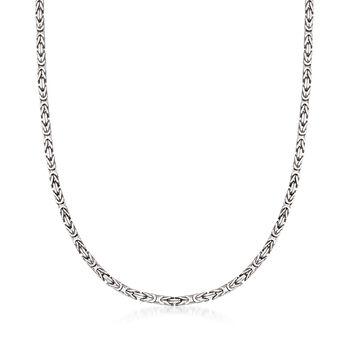 "2.3mm Sterling Silver Byzantine Necklace. 18"", , default"