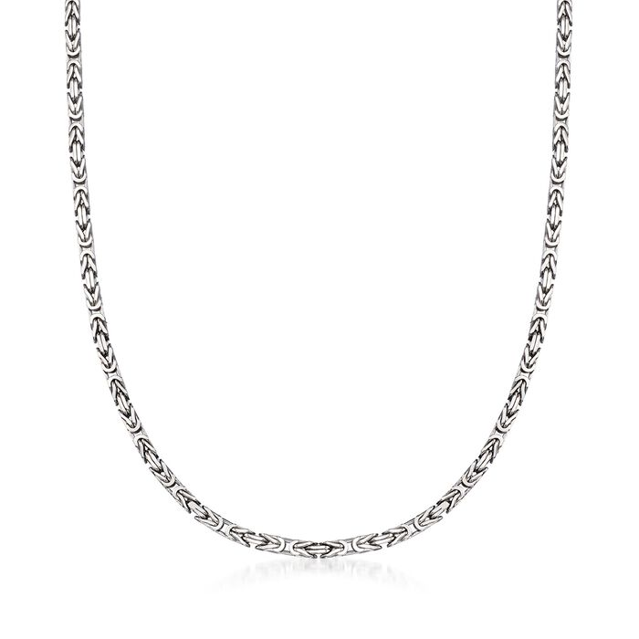 "2.3mm Sterling Silver Byzantine Necklace. 18"", , default"