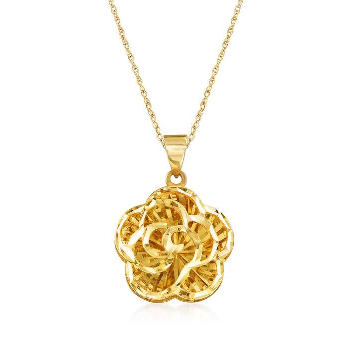 14kt Yellow Gold Openwork Flower Pendant Necklace