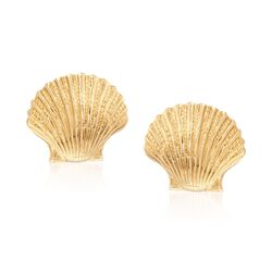 14kt Yellow Gold Seashell Motif Earrings, , default