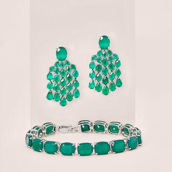 Cushion-Cut Green Chalcedony Tennis Bracelet in Sterling Silver, , default