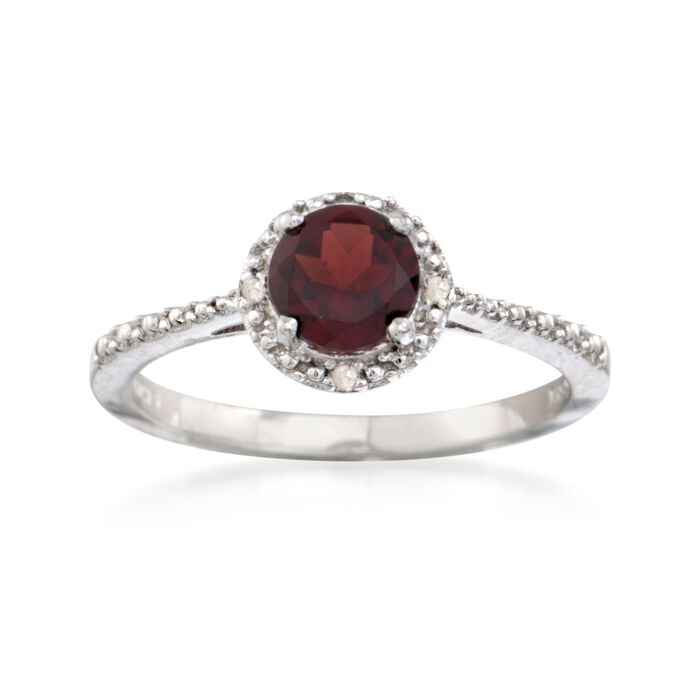 1.00 Carat Round Garnet Ring with Diamond Accents in Sterling Silver