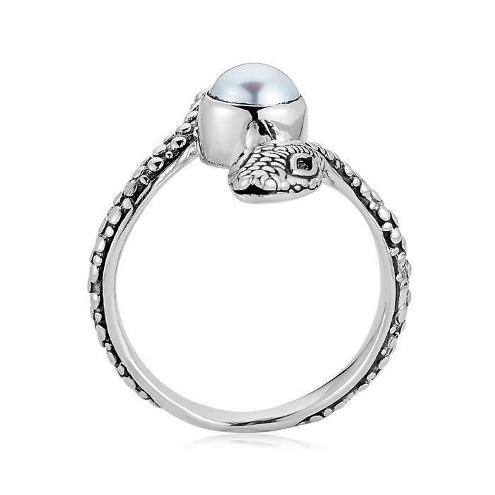 Cultured Pearl Snake Bypass Ring in Sterling Silver