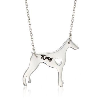 """Sterling Silver Doberman Pinscher Dog Name Necklace. 19"""", , default"""