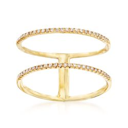 .15 ct. t.w. Diamond Open Space Two-Band Ring in 18kt Yellow Gold, , default