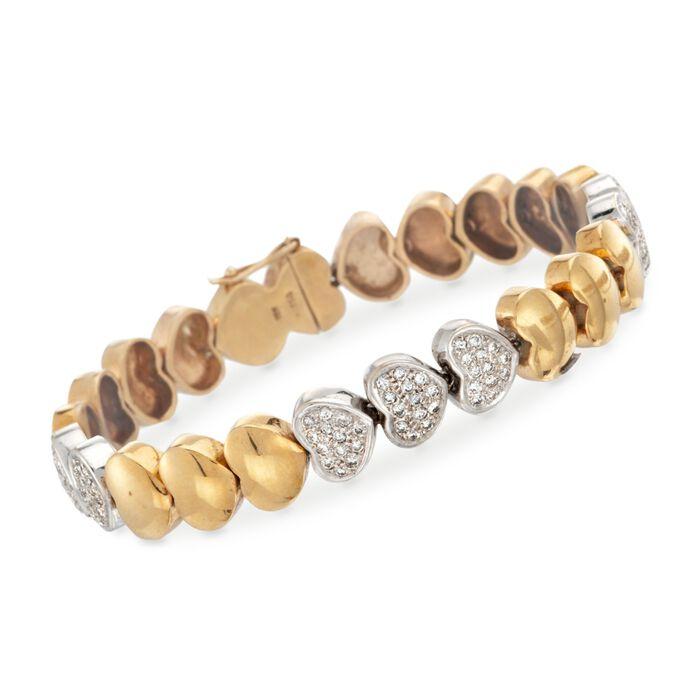 "C. 1990 Vintage 1.30 ct. t.w. Diamond Heart Link Bracelet in 18kt Two-Tone Gold. 7"", , default"