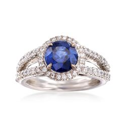 C. 1990 Vintage 2.08 Carat Sapphire and .65 ct. t.w. Diamond Ring in 18kt White Gold. Size 6, , default