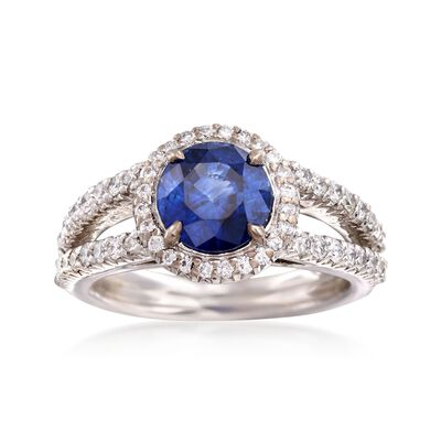 C. 1990 Vintage 2.08 Carat Sapphire and .65 ct. t.w. Diamond Ring in 18kt White Gold, , default