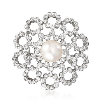 """C. 1990 Vintage Mikimoto Cultured Pearl and .65 ct. t.w. Diamond Pin/Pendant in 18kt White Gold. 20"""""""