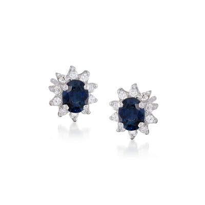 .80 ct. t.w. Sapphire and .20 ct. t.w. Diamond Stud Earrings in 14kt White Gold, , default
