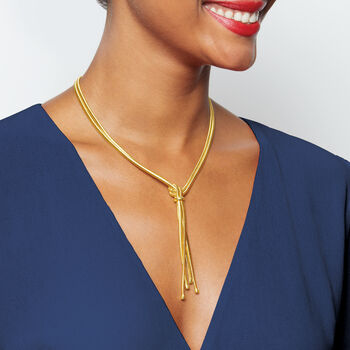 """Italian 18kt Yellow Gold Over Sterling Silver Two-Strand Tassel Necklace. 18"""""""