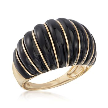 Black Onyx Shrimp Ring in 14kt Yellow Gold, , default