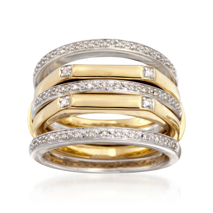 Set of Four .15 ct. t.w. Diamond Stackable Rings in Two-Tone Sterling Silver, , default