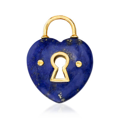 Lapis Heart Lock Pendant in 14kt Yellow Gold