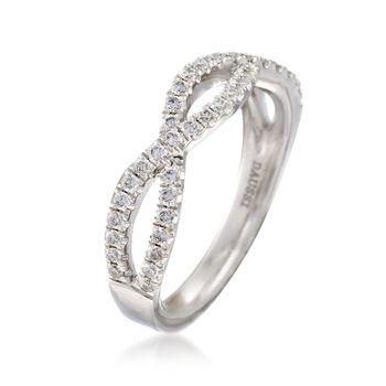 Henri Daussi .35 ct. t.w. Diamond Twisted Wedding Ring in 18kt White Gold