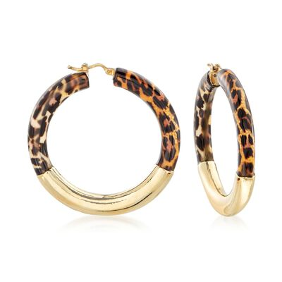 Italian Leopard-Print Enamel and 18kt Gold Over Sterling Hoop Earrings