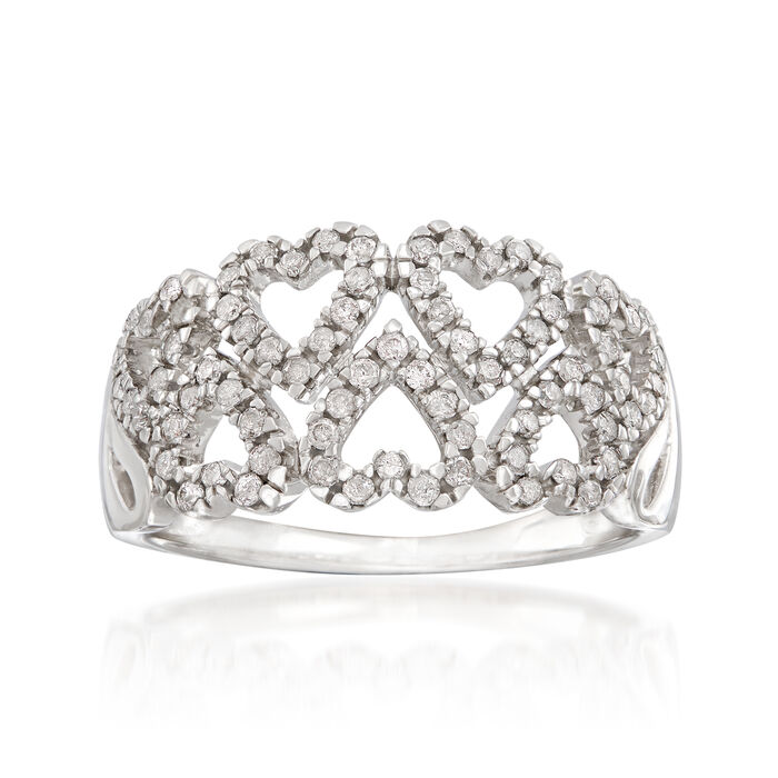 .40 ct. t.w. Diamond Double-Row Heart Ring in Sterling Silver