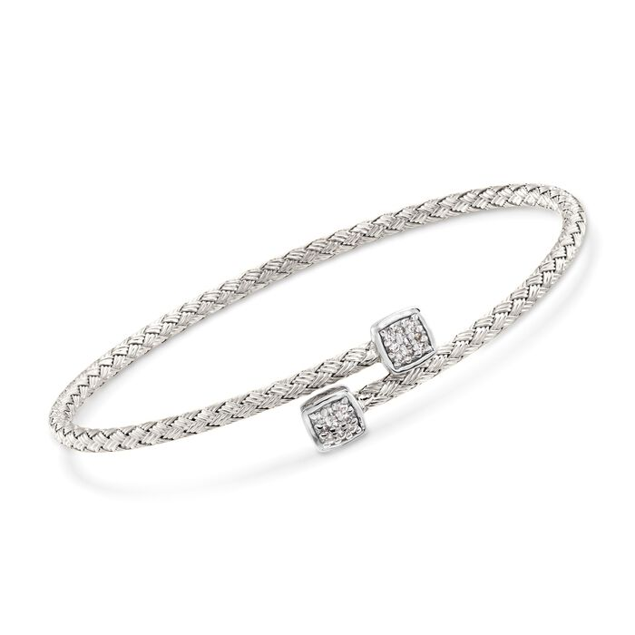 "Charles Garnier ""Nana"" .15 ct. t.w. CZ Square Bypass Bracelet in Sterling Silver. 7"", , default"