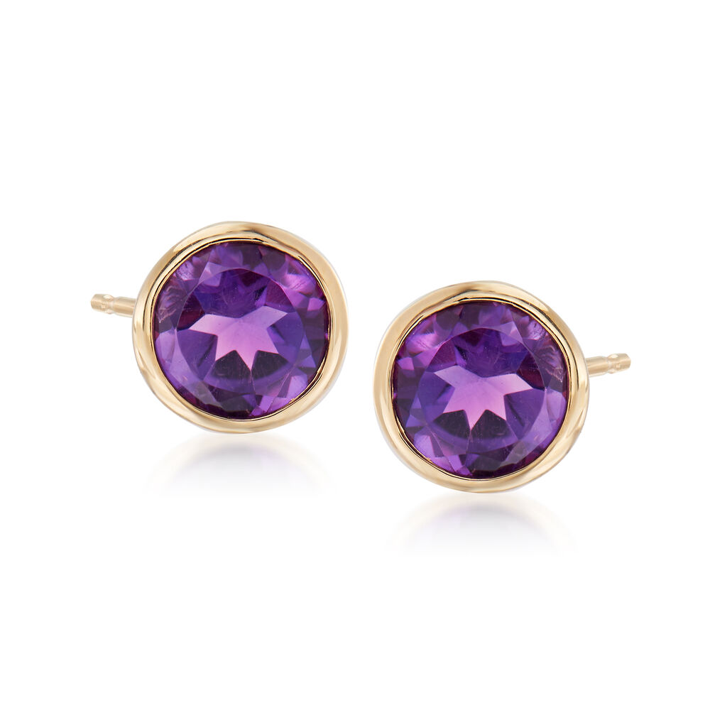 T W Bezel Set Amethyst Stud Earrings In 14kt Yellow Gold