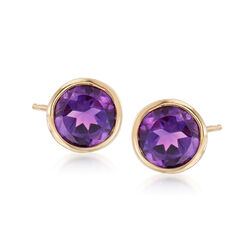1.50 ct. t.w. Bezel-Set Amethyst Stud Earrings in 14kt Yellow Gold, , default