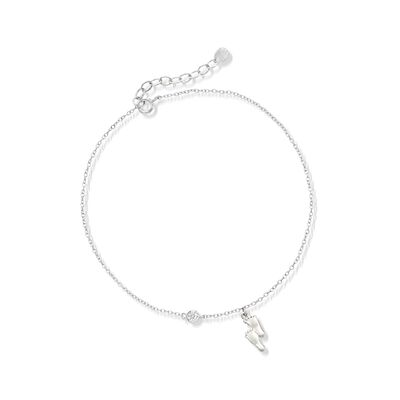 Sterling Silver Footprint Charm Anklet with CZ Accent, , default