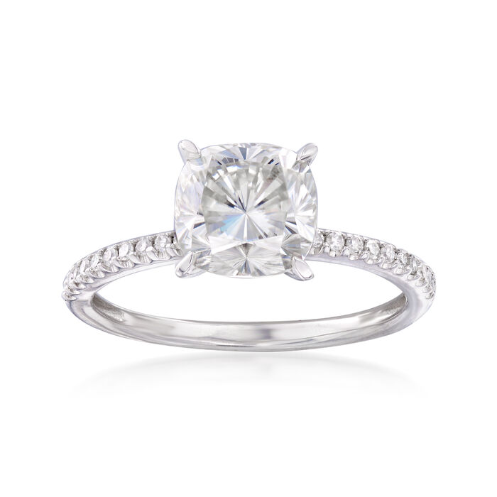 2.25 Carat Synthetic Moissanite and .11 ct. t.w. Diamond Engagement Ring in 14kt White Gold, , default