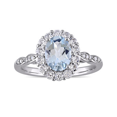 1.00 Carat Aquamarine and .60 ct. t.w. White Topaz Ring with Diamond Accents in 14kt White Gold