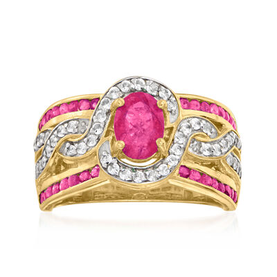 1.65 ct. t.w. Ruby and .45 ct. t.w. White Zircon Ring in 18kt Gold Over Sterling