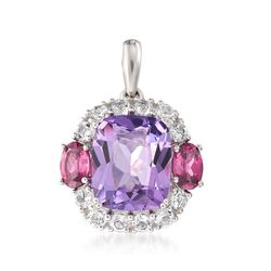 5.00 Carat Amethyst and 1.10 ct. t.w. Rhodolite Garnet Pendant With White Zircons in Sterling Silver, , default