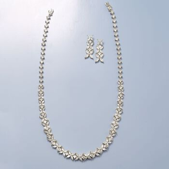 22.70 ct. t.w. CZ Floral Necklace in Sterling Silver, , default